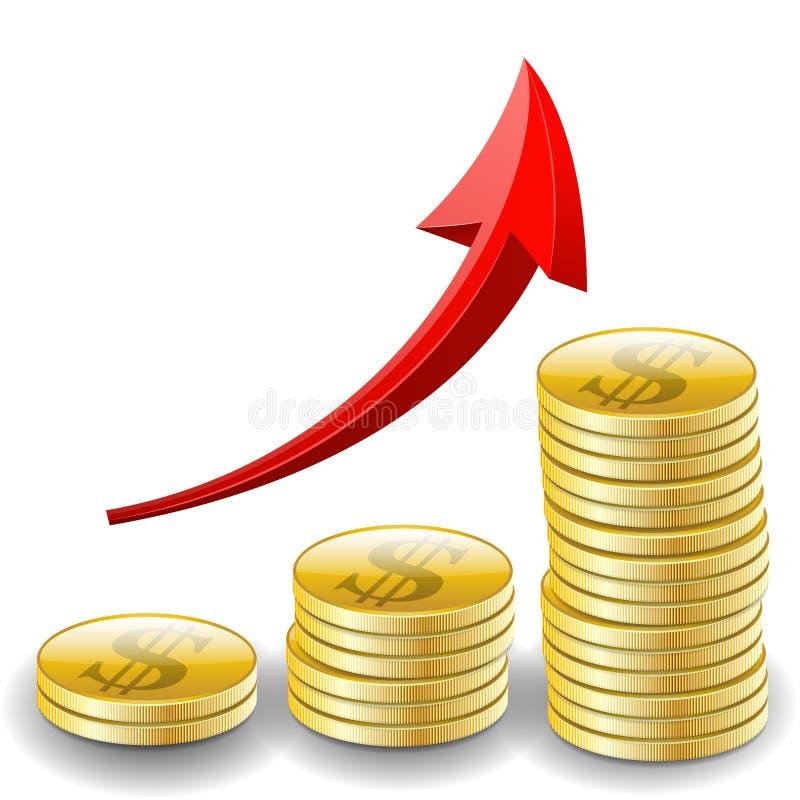 Diagramma commerciale con i soldi dorati delle monete illustrazione di stock