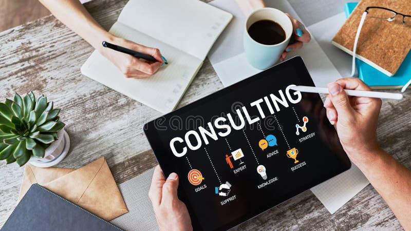 Diagramma consultantesi sullo schermo Concetto di tecnologia di Internet di finanza di affari immagini stock