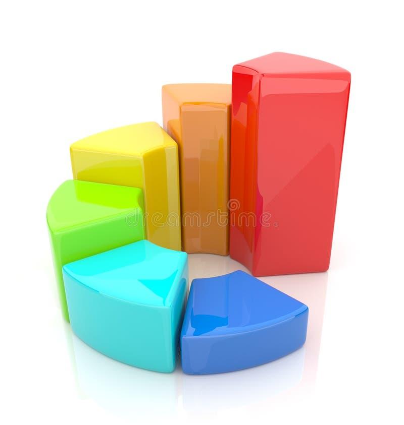Diagramma dell'anello. Schema 3D di affari. Icona su bianco royalty illustrazione gratis