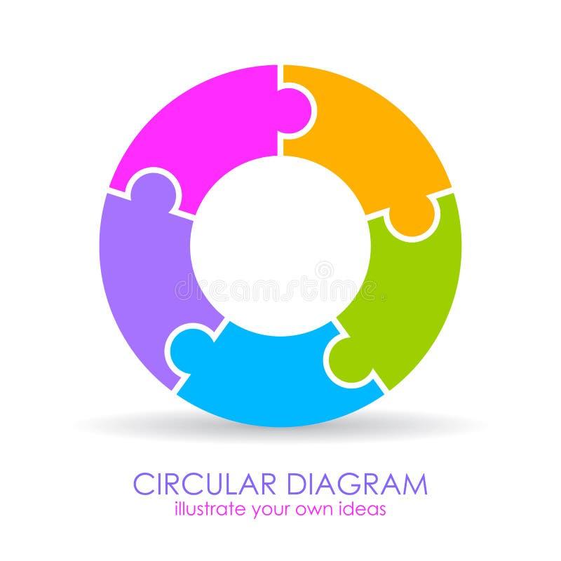 Diagramma della circolare di cinque elementi di puzzle illustrazione vettoriale