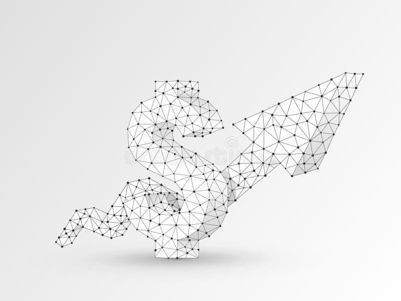 Diagramma della freccia di sviluppo Origami poligonali tecnologici di vettore del dollaro di USD di affari Poli successo basso, c illustrazione di stock