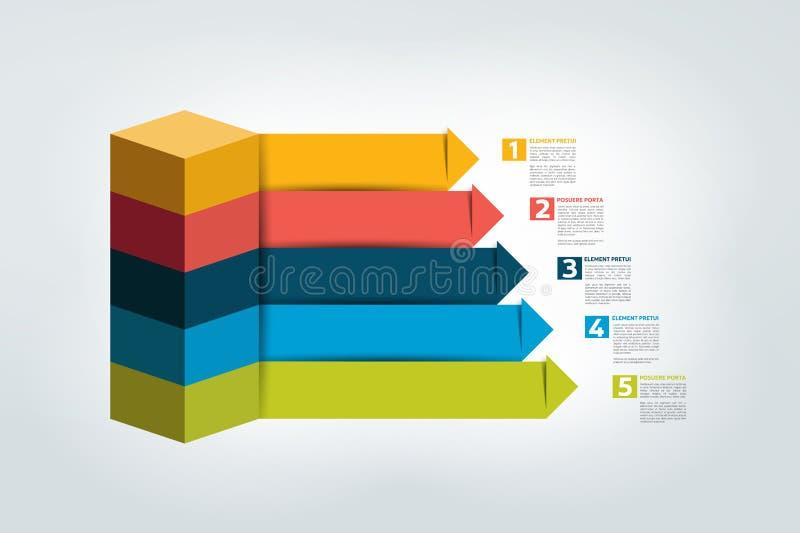 Diagramma della scala delle frecce di affari di Infographic, modello, grafico, schema illustrazione vettoriale