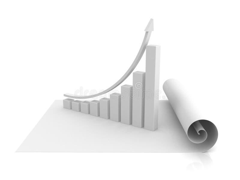 Diagramma dello schema del grafico commerciale che aumenta in su con la freccia illustrazione di stock