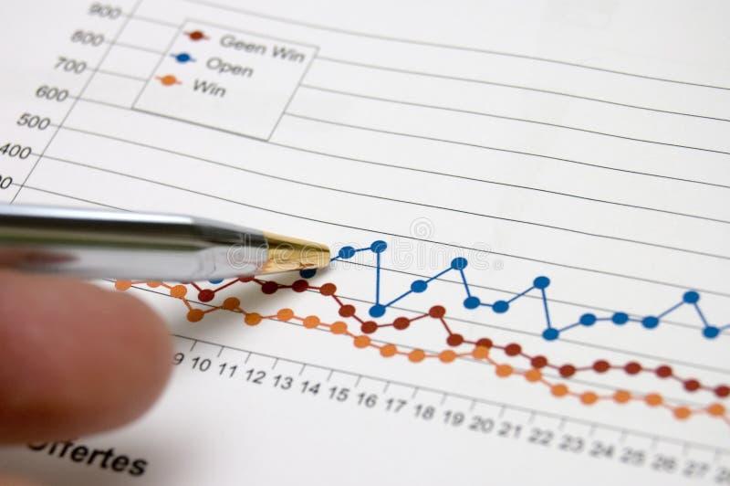 Diagramma di affari con penn fotografia stock