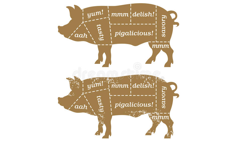 Diagramma di Butcherâs del maiale del barbecue immagine stock
