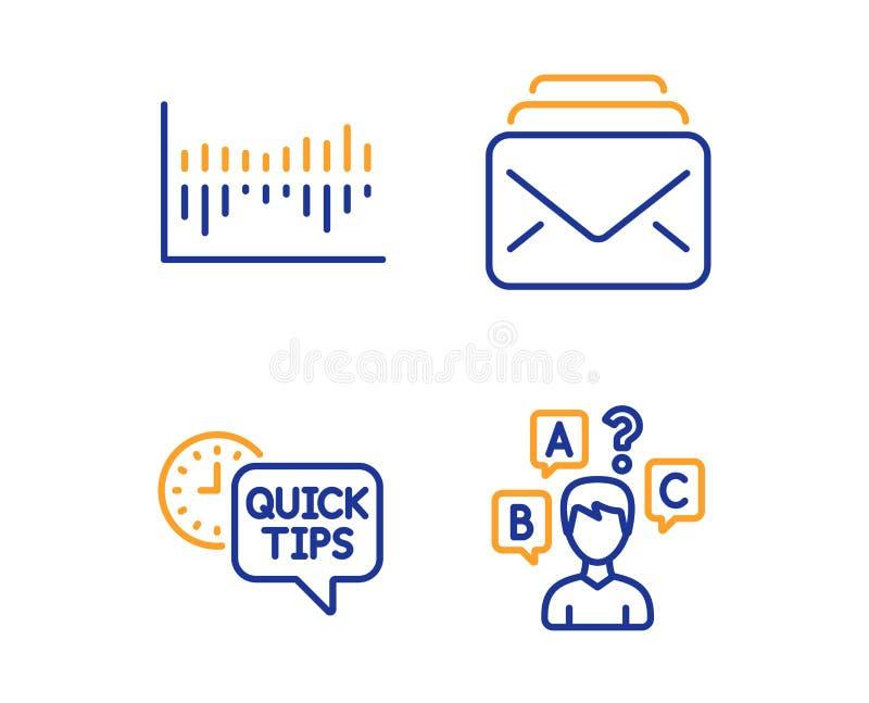 Diagramma di colonna, punte rapide ed insieme delle icone della posta Segno della prova di quiz Statistiche di vendita, trucchi u illustrazione vettoriale