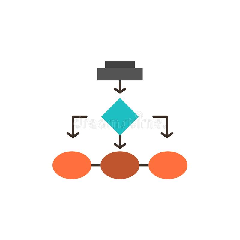 Diagramma di flusso, algoritmo, affare, architettura di dati, schema, struttura, icona piana di colore di flusso di lavoro Modell royalty illustrazione gratis