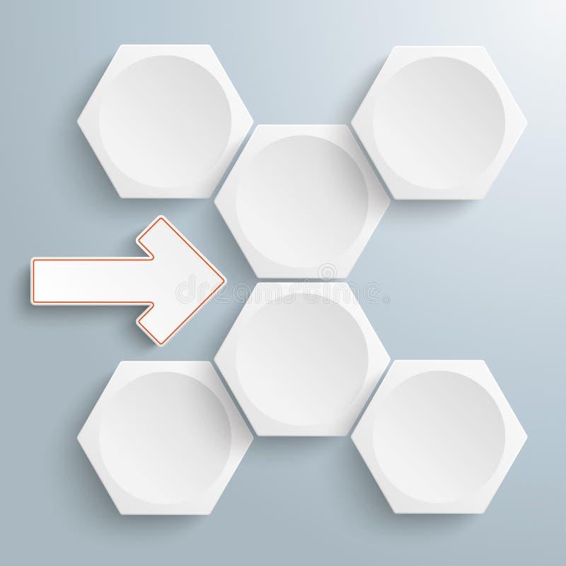 Diagramma di flusso bianco della freccia di 6 esagoni illustrazione vettoriale