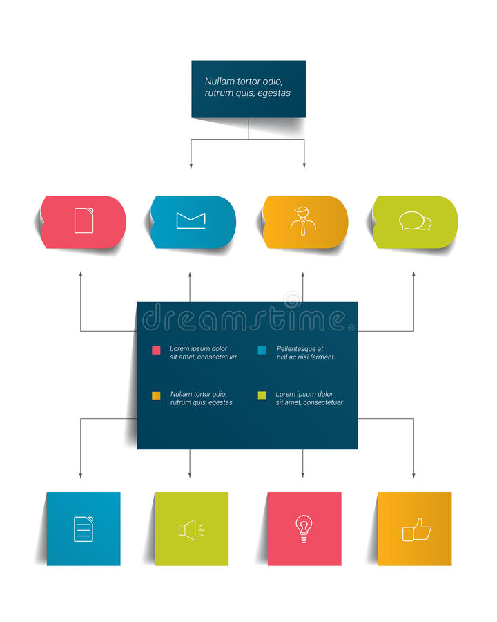 Diagramma di flusso di Infographics Schema colorato delle ombre illustrazione di stock