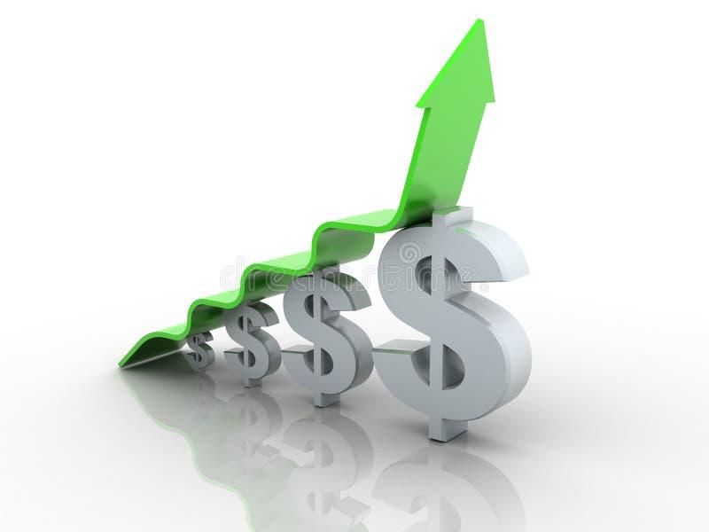 diagramma di freccia che si alza sopra la barra del grafico del dollaro royalty illustrazione gratis