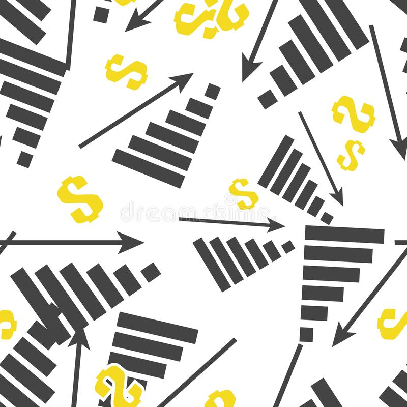 Diagramma di immagine di vettore del declino, recessione Crisi finanziaria dell'icona Calo nel modello senza cuciture di vendite  royalty illustrazione gratis