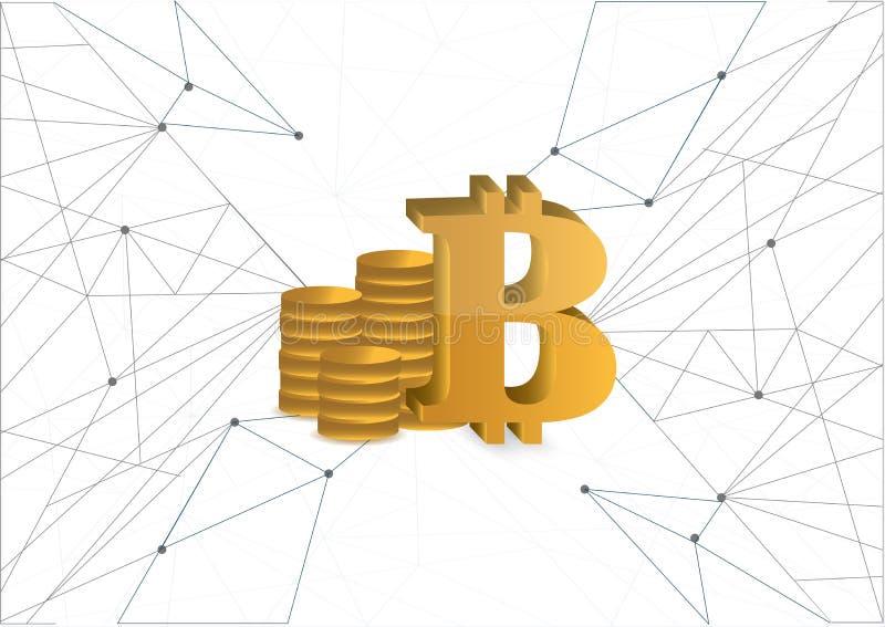 Diagramma di rete dorato di valuta delle monete di Bitcoin illustrazione di stock