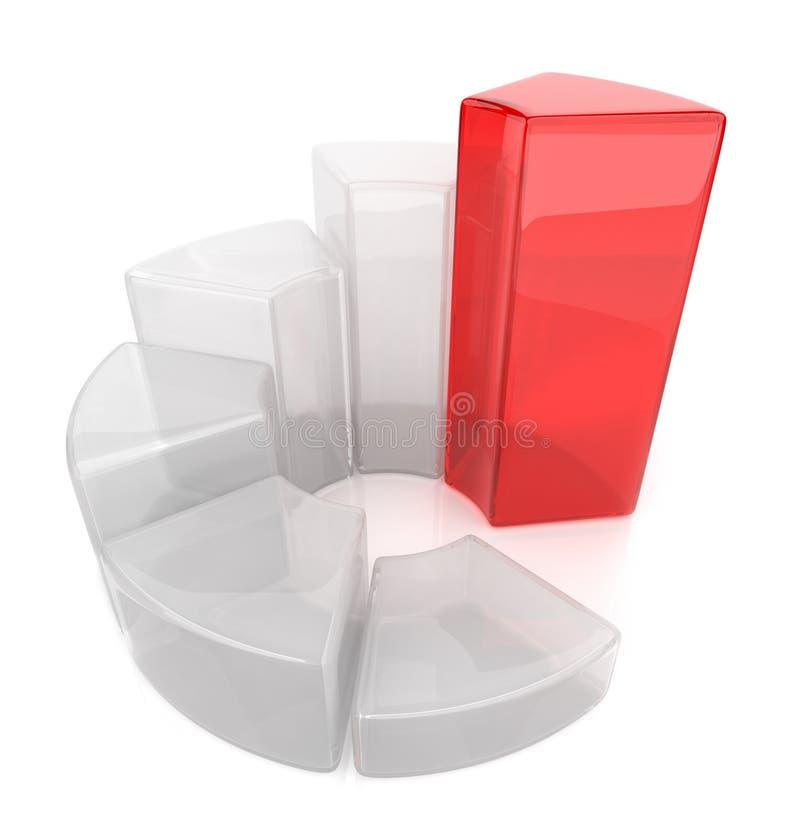 Diagramma di vetro. Schema 3D di affari. Icona illustrazione vettoriale