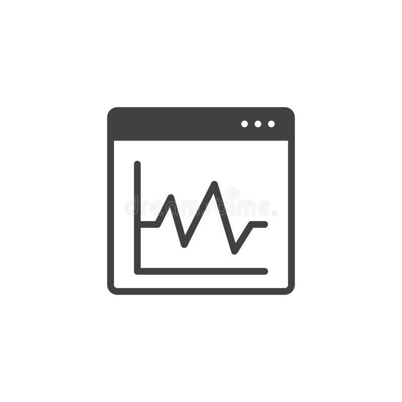Diagramma grafico sull'icona di vettore della finestra di browser illustrazione vettoriale