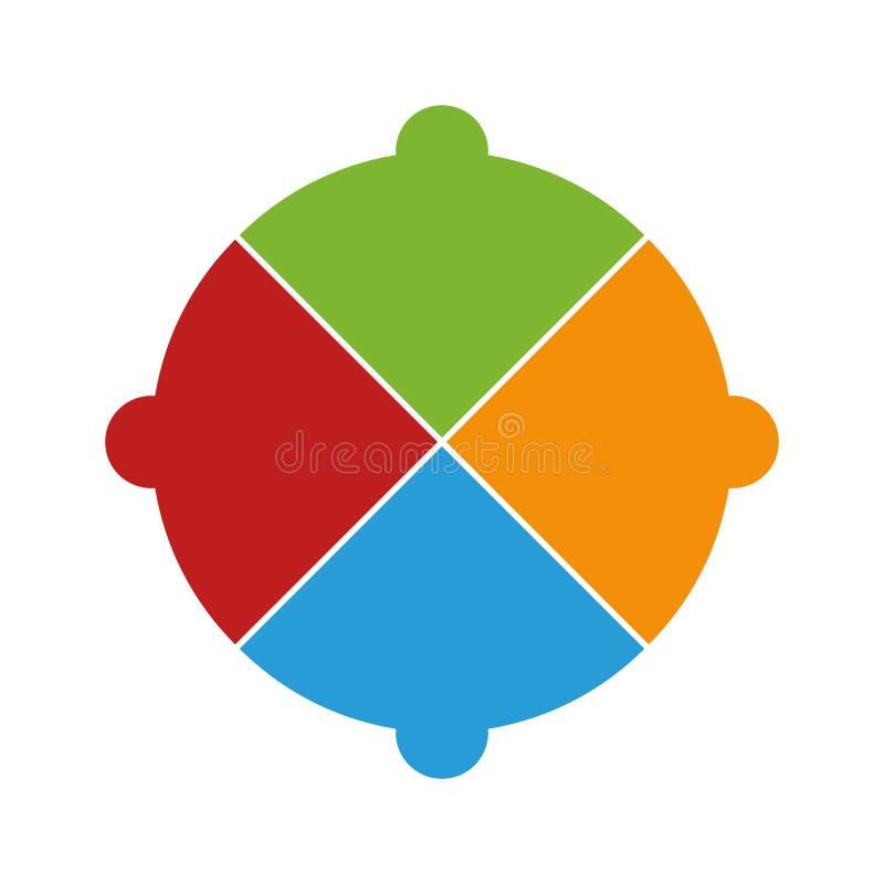Diagramma a superficie circolare Infographic di colore Modello per il diagramma, il grafico, la presentazione ed il grafico Conce illustrazione vettoriale