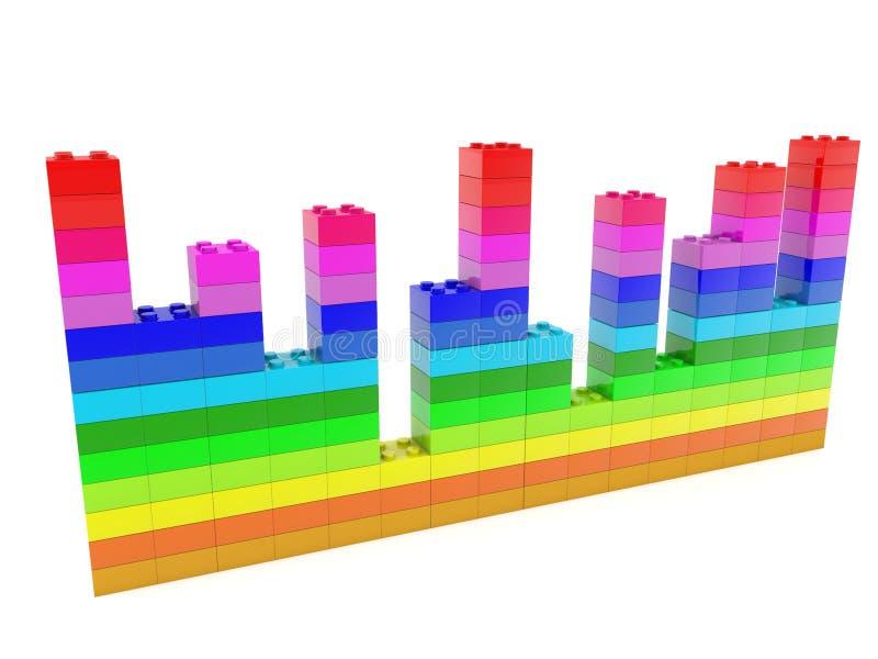 Diagramma sviluppato dai mattoni del giocattolo in vari colori illustrazione vettoriale