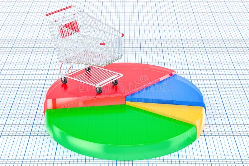 Diagramma a torta colorato con il carrello, rappresentazione 3D illustrazione di stock