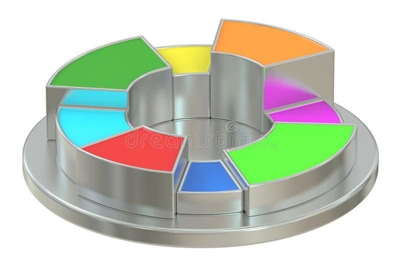 Diagramma a torta colorato e metallico del cerchio royalty illustrazione gratis