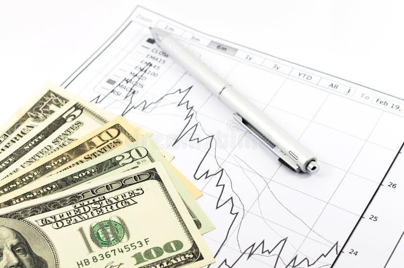 Diagrammbericht auf Lager mit Stift und usd Geld lizenzfreies stockbild
