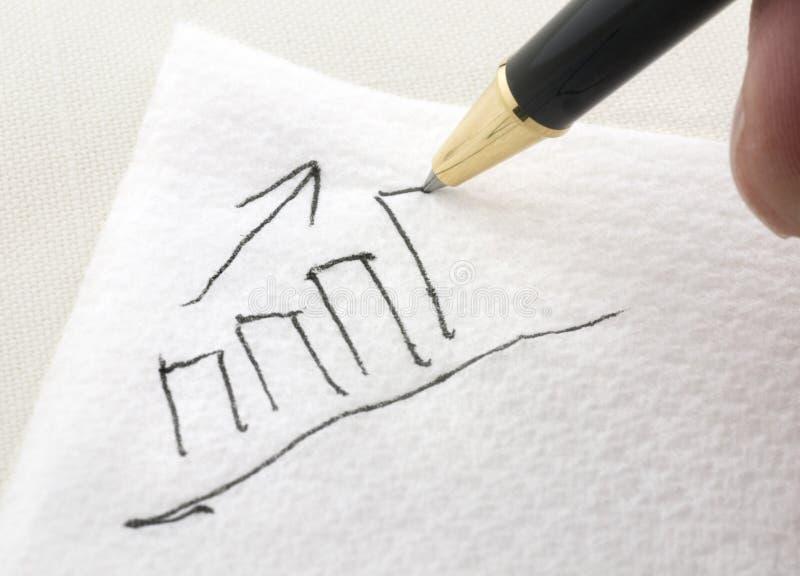 Diagramme à barres étant dessiné sur une serviette image libre de droits