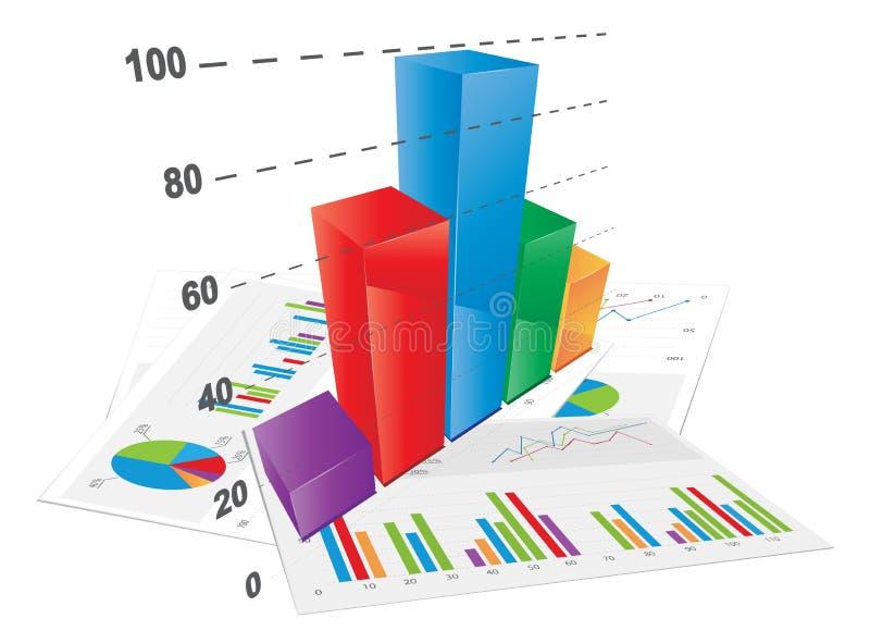 diagramme à barres 3D illustration de vecteur