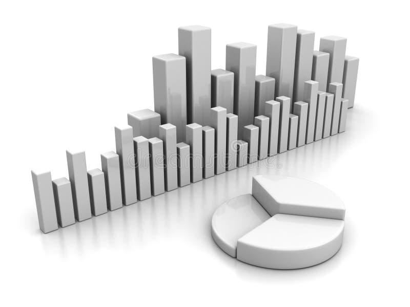 Diagramme à barres d'affaires et graphique financiers de secteur illustration stock