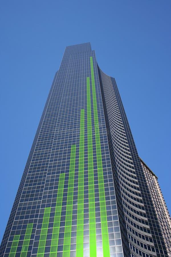 Diagramme à barres sur le gratte-ciel illustration stock
