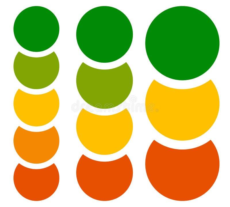 Diagramme, éléments verticaux de graphique, calibres avec le cercle 5, 4 et 3 illustration de vecteur