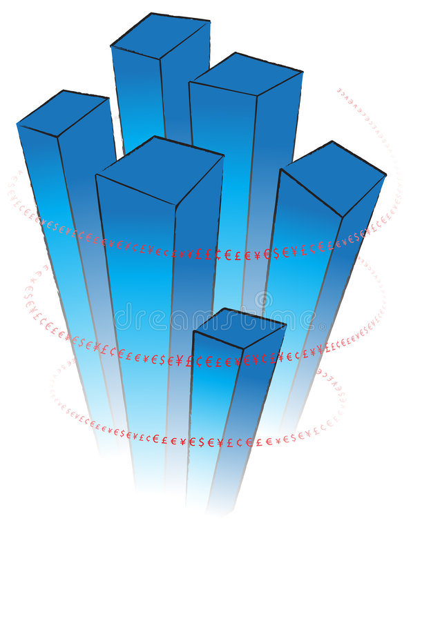 Diagramme 3D bleu avec les signes rouges de valuta illustration stock