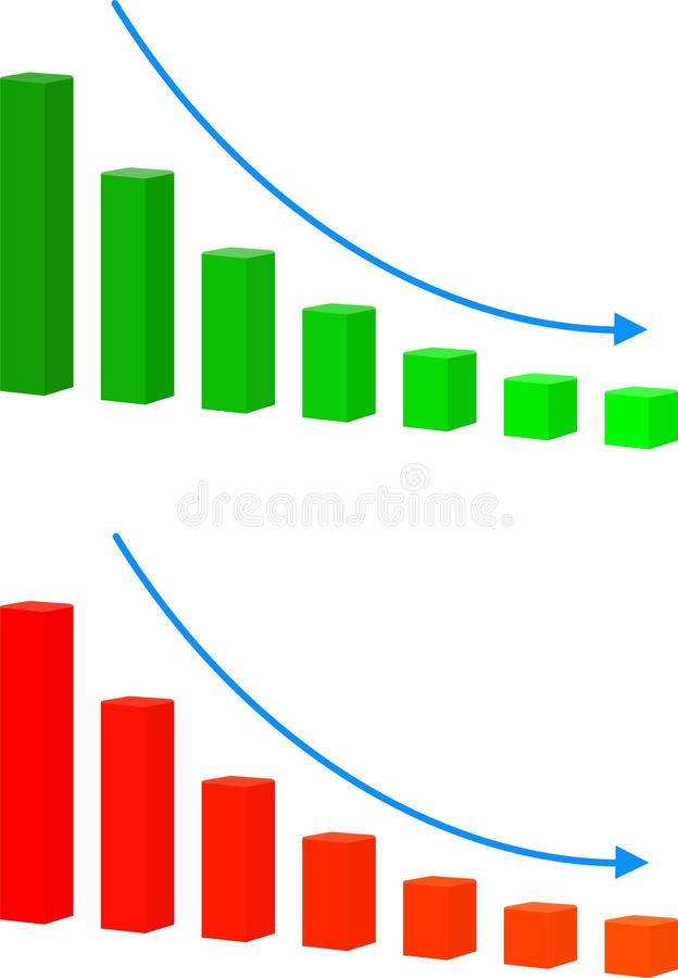 Diagramme avec des barres diminuant l'icône de trame Diminuez l'icône de signe Symbole de graphique de finances illustration stock