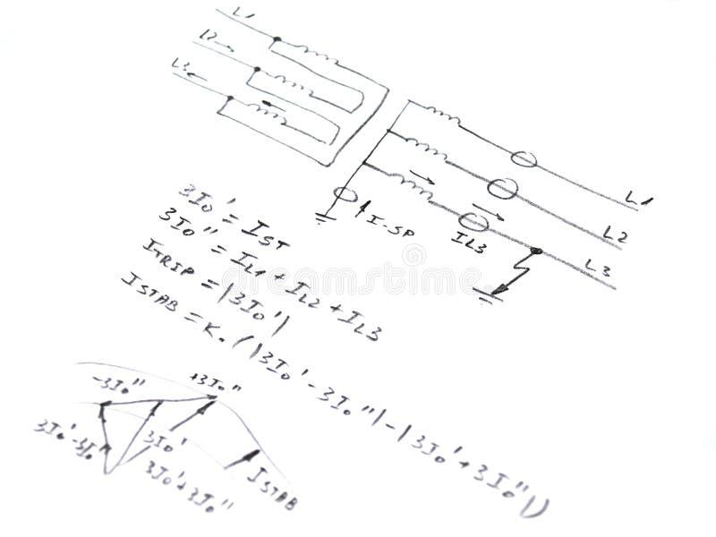 Diagramme avec l'analyse du court-circuit de réseau illustration libre de droits
