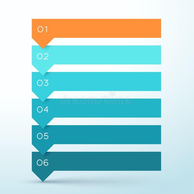Diagramme coloré d'Infographic de 6 d'étape de flèche bannières de liste photo stock