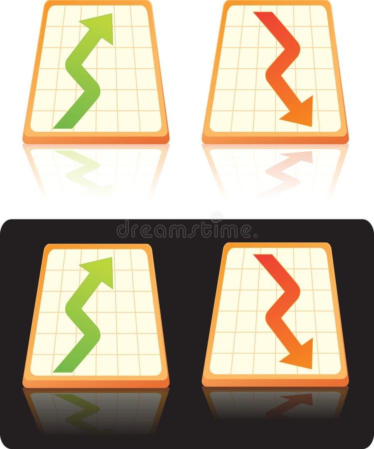 Diagramme courant en haut et en bas illustration stock