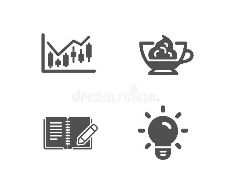 Diagramme, crème d'expresso et icônes financiers de rétroaction Signe d'ampoule illustration de vecteur