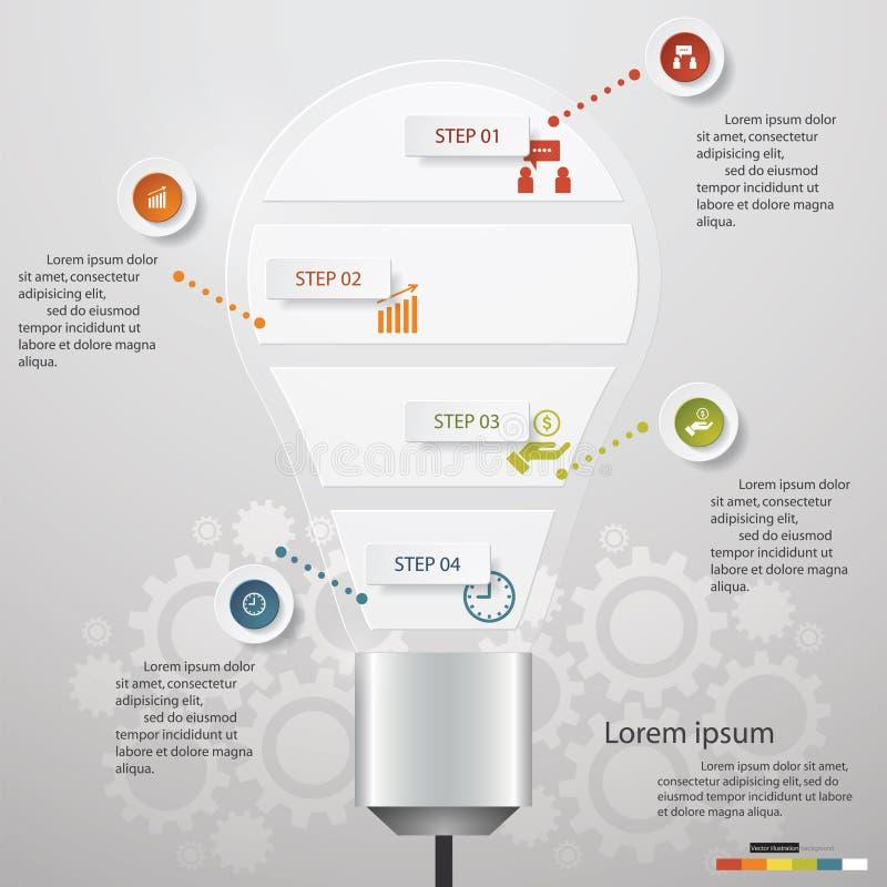 Diagramme d'étapes du graphique de gestion de conception 5 dans la forme d'ampoule illustration de vecteur