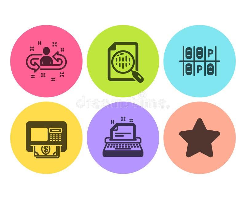 Diagramme d'Analytics, ensemble d'icônes de recrutement et de machine à écrire Parking, signes d'atmosphère et d'étoile Vecteur illustration libre de droits