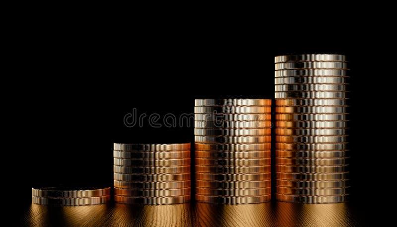 Diagramme d'or de pi?ces de monnaie illustration libre de droits