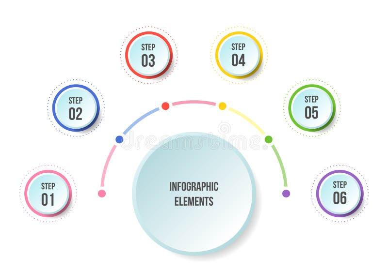 Diagramme d'en demi-cercle, calibres infographic de chronologie illustration stock