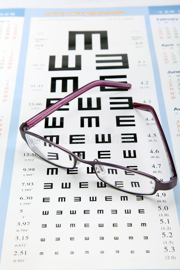 Diagramme d'essai d'oeil avec des lunettes en métal photographie stock libre de droits