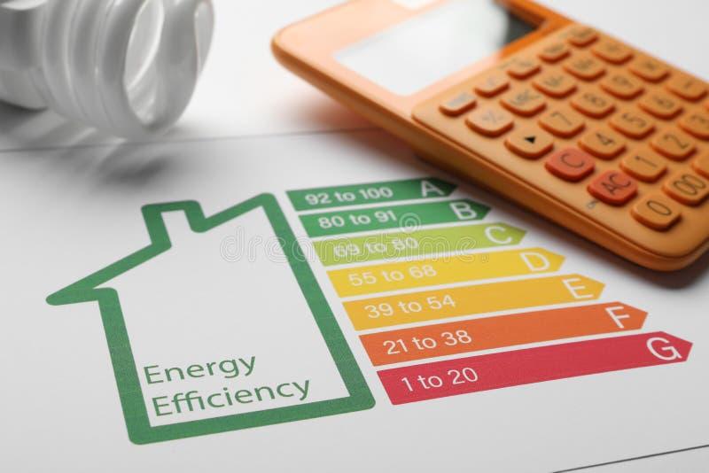 Diagramme d'estimation de rendement énergétique, ampoule fluorescente et calculatrice sur le fond blanc photo libre de droits