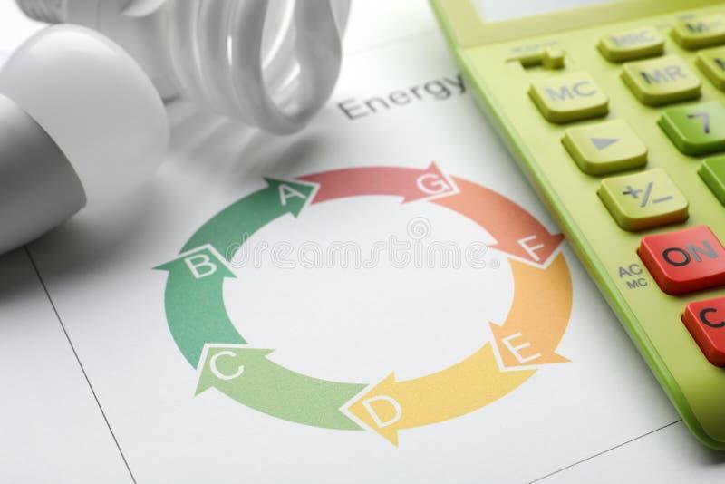 Diagramme d'estimation de rendement énergétique, ampoules et calculatrice sur le fond blanc photographie stock libre de droits