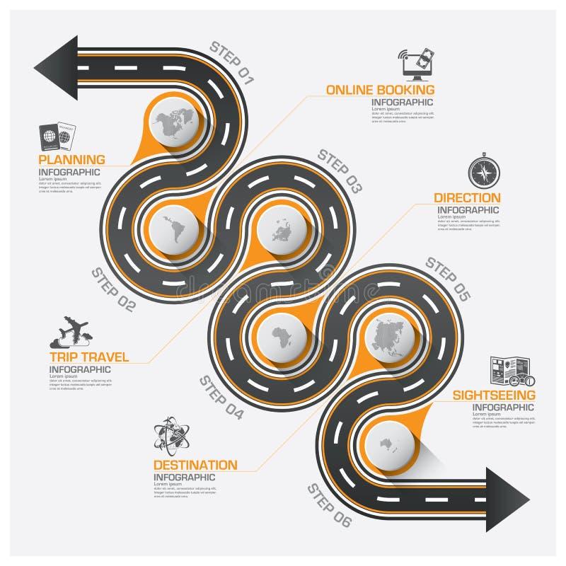 Diagramme d'Infographic d'itinéraire de courbe de voyage d'affaires de route et de rue illustration stock