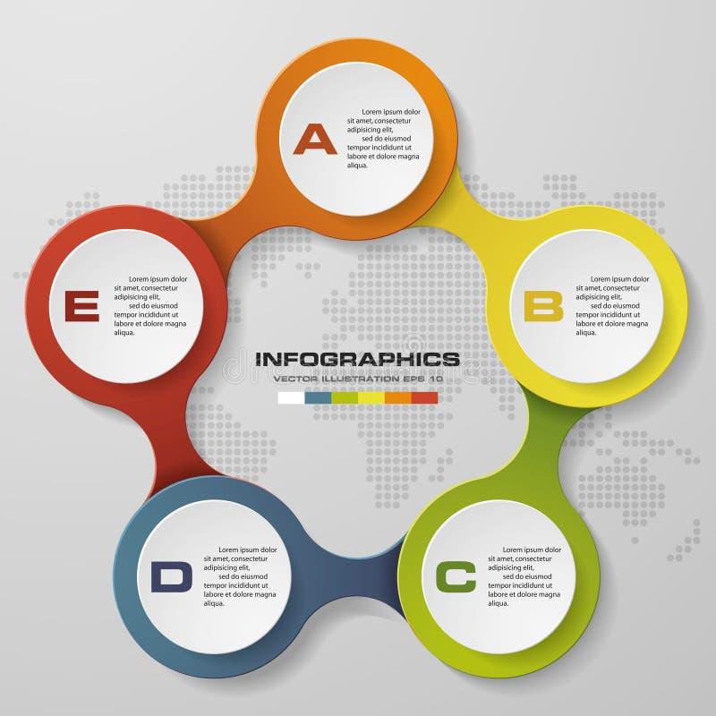 diagramme d'infographics de cercle de 5 étapes illustration libre de droits