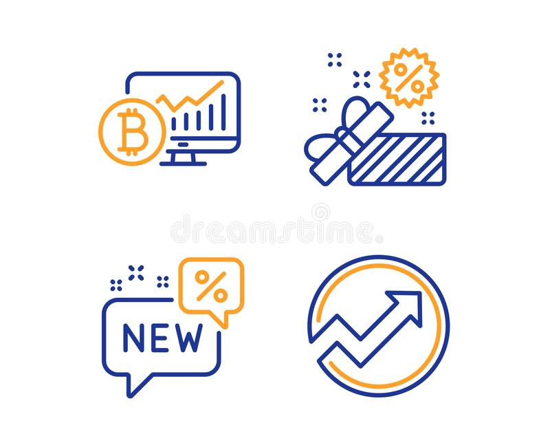 Diagramme de Bitcoin, vente et nouvel ensemble d'icônes Signe d'audit Statistiques de Cryptocurrency, boîte-cadeau, remise Graphi illustration libre de droits