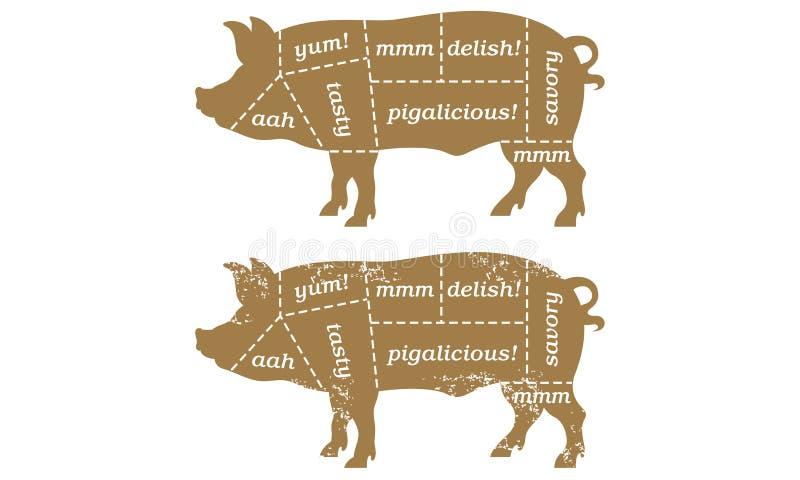 Diagramme de Butcherâs de porc de barbecue illustration libre de droits