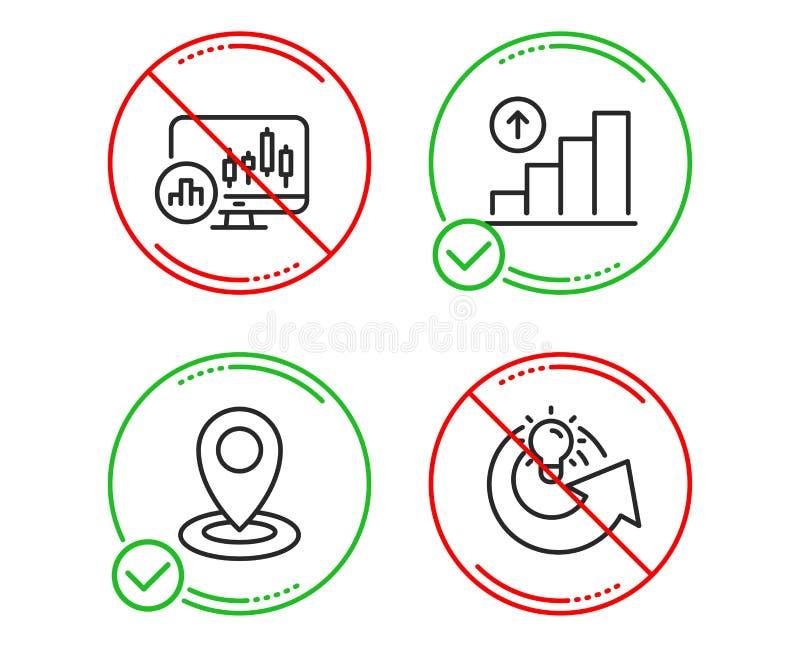 Diagramme de chandelier, diagramme de graphique et ensemble d'ic?nes d'emplacement Partagez le signe d'id?e Vecteur illustration de vecteur