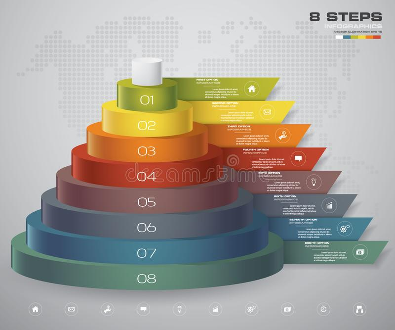 diagramme de 8 couches d'étapes Élément abstrait simple et editable de conception illustration stock