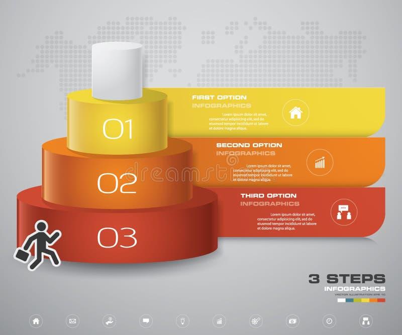 diagramme de 3 couches d'étapes Élément de conception d'abrégé sur Simple&Editable illustration de vecteur