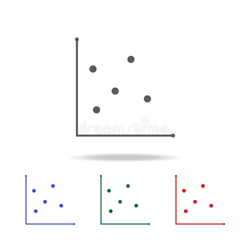 Diagramme de dispersion et icône de graphique Les éléments du diagramme et de la tendance diagram les icônes colorées multi Ico d illustration libre de droits