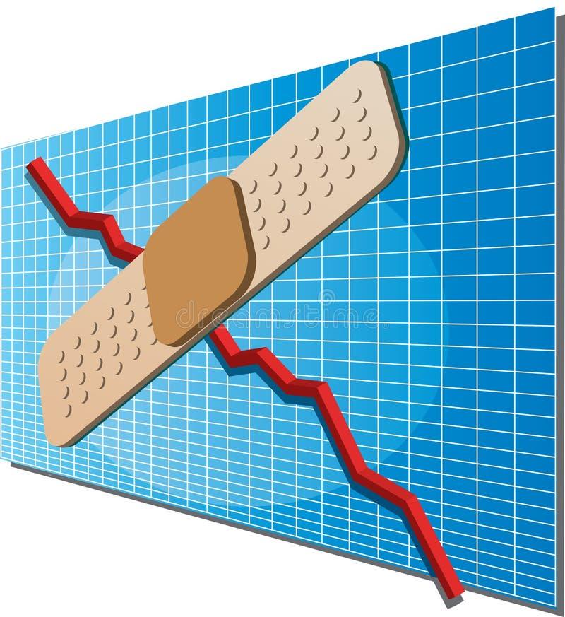 Diagramme de finances avec bandaid illustration stock